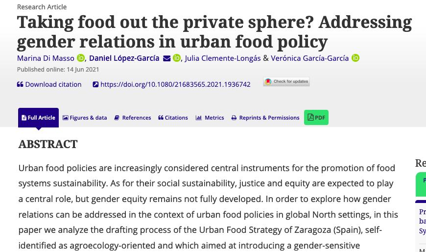 Estudio/Paper: ¿Sacamos la comida de la esfera privada? Cómo abordar las relaciones de género en la política alimentaria urbana